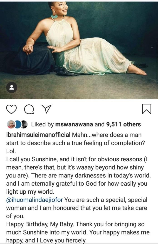 Ibrahim Suleiman message to Linda Ejiofor