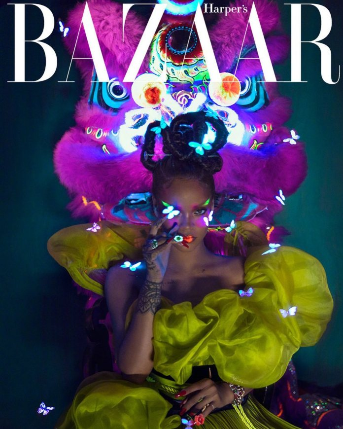 King of Pop! Rihanna Covers China's Harper Baazar In All Her Neon Glory 1