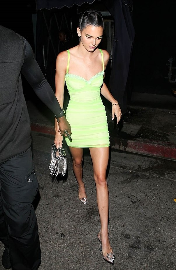 Kendall Jenner Stuns In Beautiful Neon Mini-Gown On Night Out With Sister, Khloe Kardashian 3