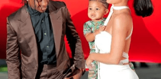 Kylie Jenner and Travis Scott with daughter, Stormi