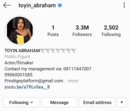 Toyin Abrahams Deletes 'ALL' Her Photos And Posts On Instagram 1