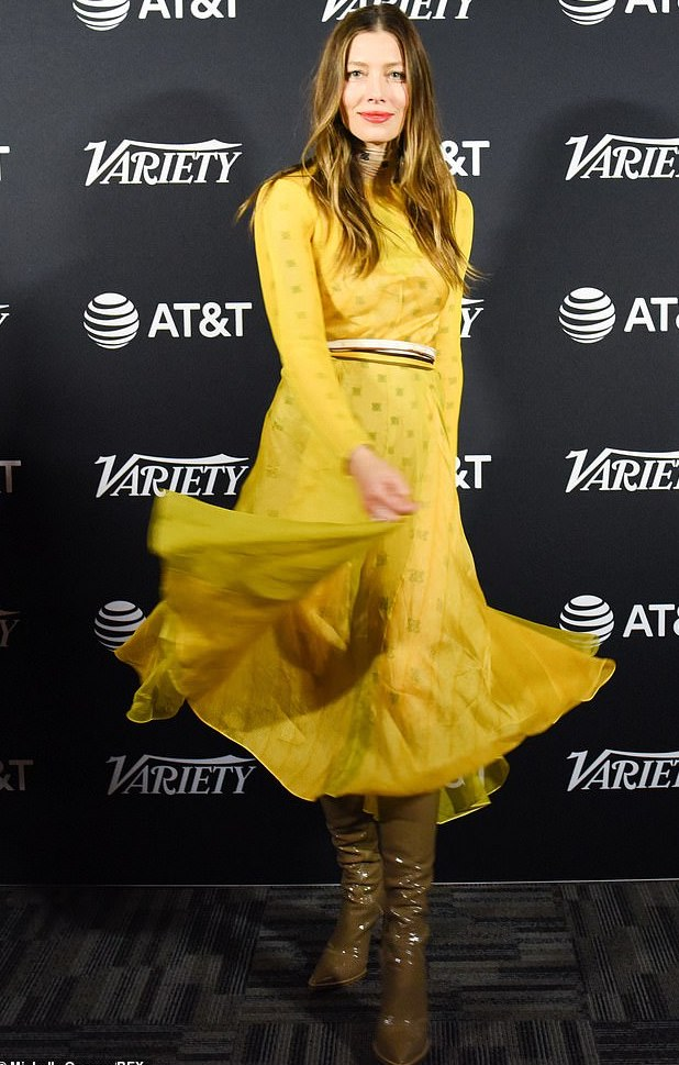 Jessica Biel Is A Vision In Sheer Yellow Fendi With Kneel-High Green Boots 2