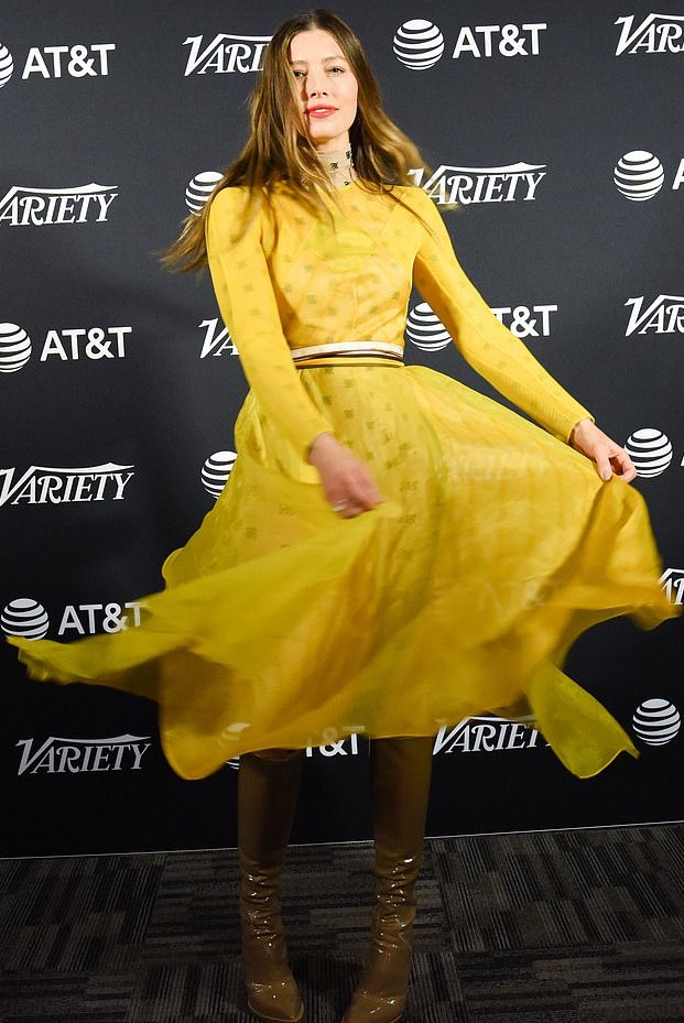 Jessica Biel Is A Vision In Sheer Yellow Fendi With Kneel-High Green Boots 3