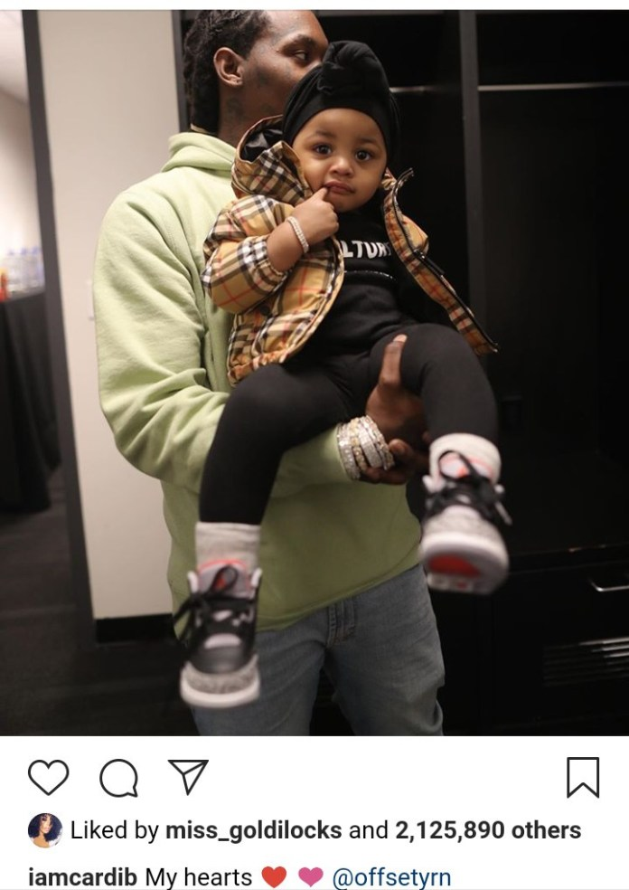 'My Hearts'- Cardi B Gushes As She Shares Super Adorable Photo Of Kulture And Offset 2