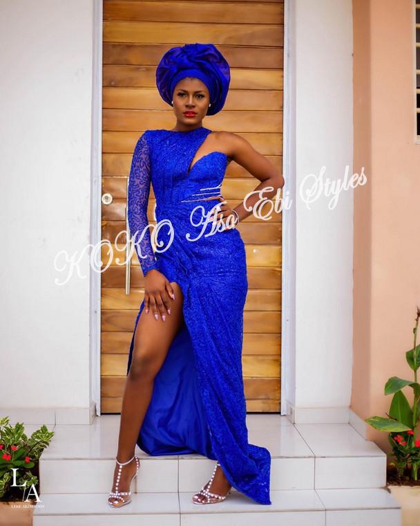 5 Stunningly Bespoke Blue Aso Ebi Lace Styles 2