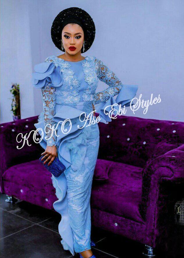5 Stunningly Bespoke Blue Aso Ebi Lace Styles 6