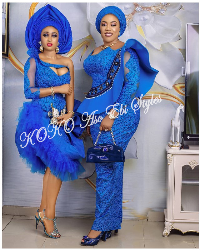 5 Stunningly Bespoke Blue Aso Ebi Lace Styles