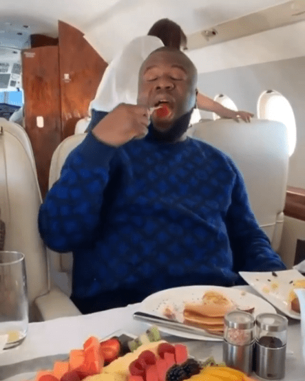Hushpuppi Lives Large On The Gram As He Dines On A Plane