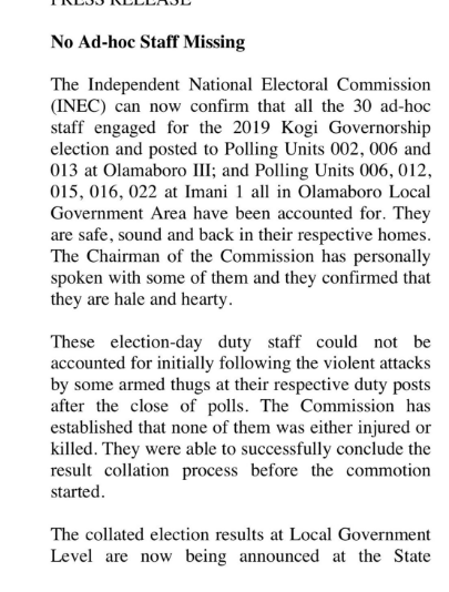 Update: All 30 Missing INEC Ad-Hoc Staffs In Kogi State Accounted For 2