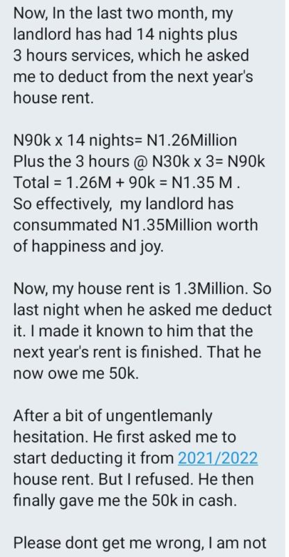 Lekki Slay Queen Wants Receipt For Sleeping With Her Landlord To Settle Her ₦1.3m Rent 2