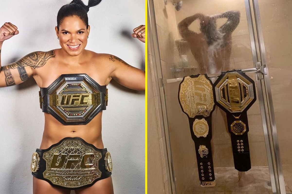 Girl with big tits behing coby covington in ufc Amanda Nunes Wows Fans By Going Completely Naked With Only Her Belts