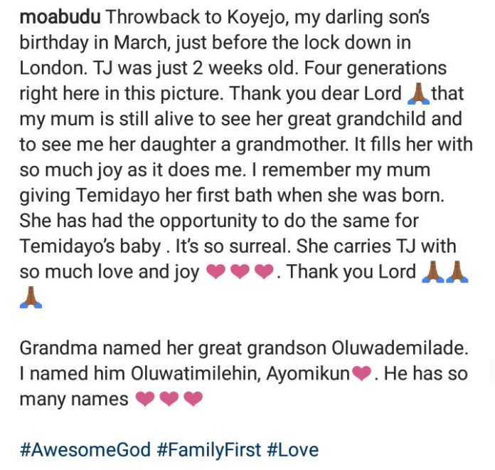 Mo Abudu Dishes Out 4 Generation Snap, Says Family First