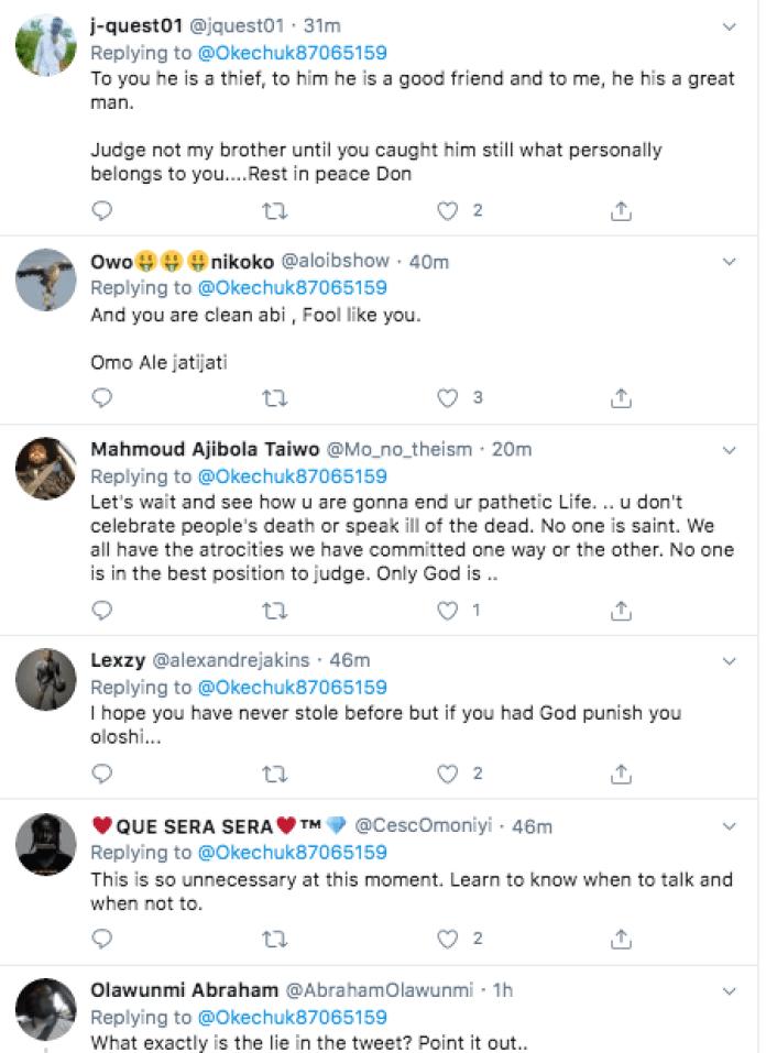 Tweep Fires Ben Bruce Over Statement On Buruji Kashamu's Death