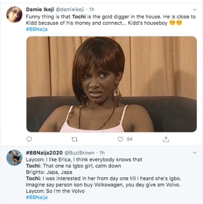 BBNaija: Erica's Fans React As Tochi Labelled Her A Gold Digger