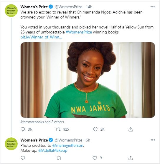 Chimamanda Ngozi Adichie Voted Best Women's Prize For Fiction Winner New Chimamanda  Ngozi Adichie Voted Best Women's Prize For Fiction Winner 1