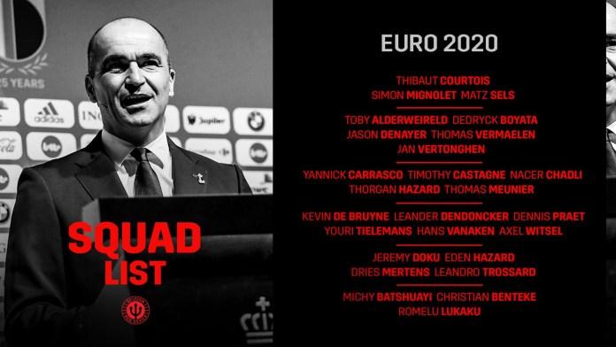 Belgium Releases Euro 2020 Star-Studded Squad list KOKO TV NG 1