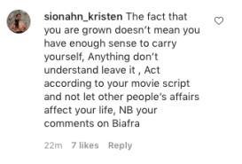 IG users slam Etinosa over IPOB violence statements KOKO TV Nigeria 2