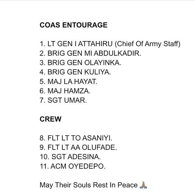 Names Of 10 Officers Who Died Alongside General Attahiru In Plane Crash