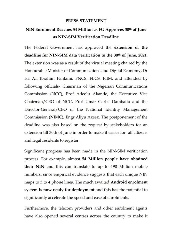 Again, Pantami Extends NIN-SIM Linkage, Till 30th June