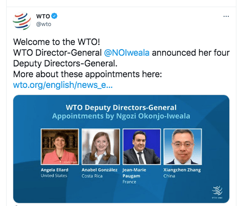 WSW! Okonjo-Iweala Appoints 2 Women To Deputy Leadership Role, First Time In WTO's History