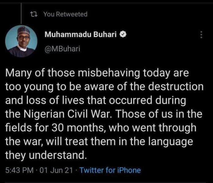 Twitter Takes Down President Buhari's Tweet On Treating Arsonists To The Language They Understand