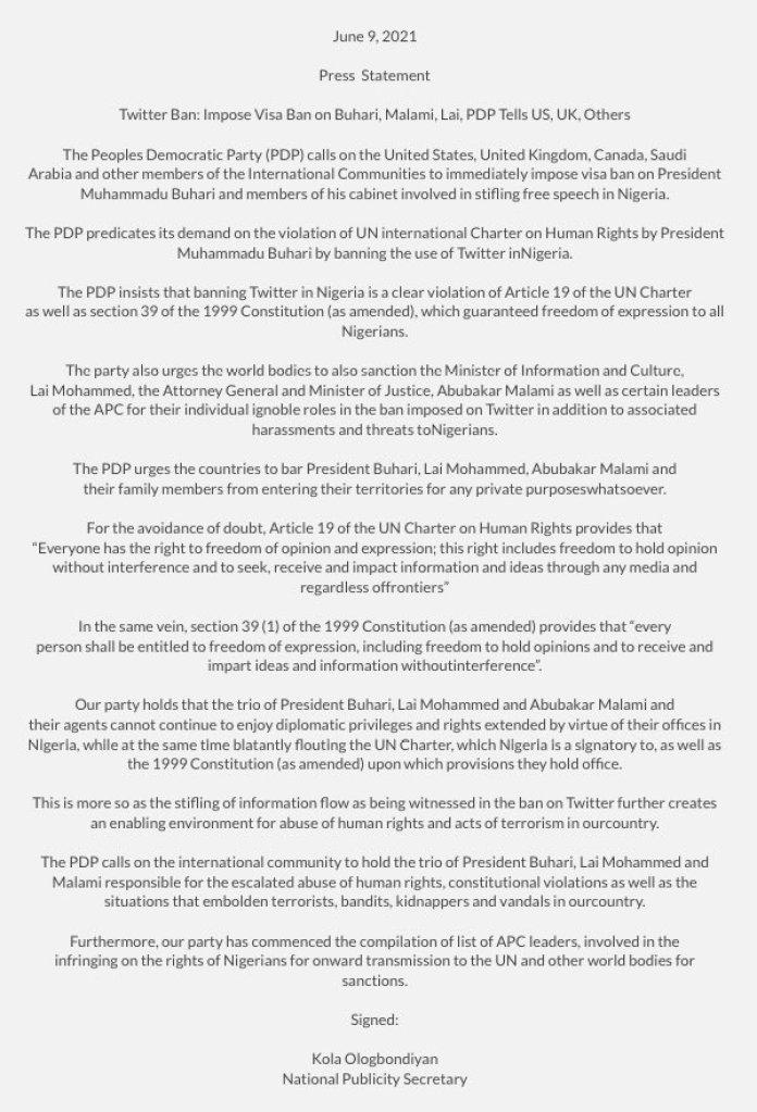 Twitter Ban: Impose Visa Ban On Buhari, Lai, Malami - PDP Tells UK, US, Others
