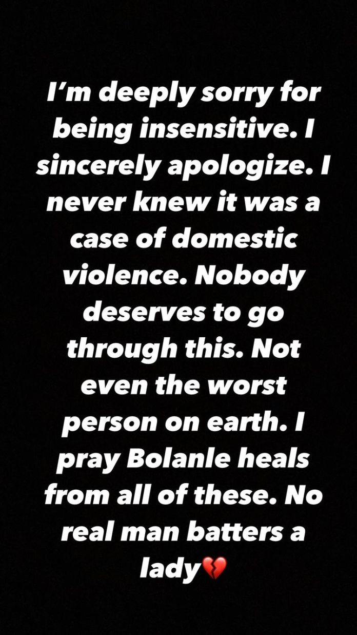 """""""I Never Knew It Was Domestic Violence Case"""", Barry Jhay Apologises After Bolanle Video"""