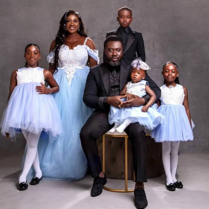Mercy Johnson Okojie and family on 10th wedding anniversary