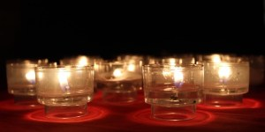 Candles alight at a retreat in October at St. Albert the Great Newman Center. (Photo courtesy of St. Albert the Great Newman Center)