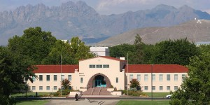 Aerial view of Hadley Hall, New Mexico State University's main administration building. (NMSU Photo)