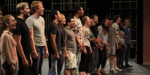 "The ensemble cast of NMSU's production of ""RENT,"" April 17, 2018, reciting the song ""Seasons of Love"" at their rehearsal in the NMSU Center for the Arts. (Photo by Nicholas Arias/Kokopelli)"