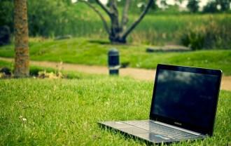 公園のパソコン