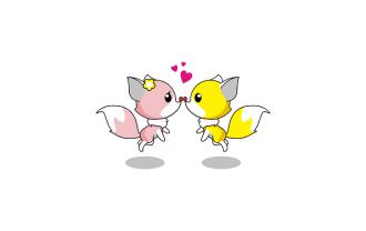 キツネのカップルの画像