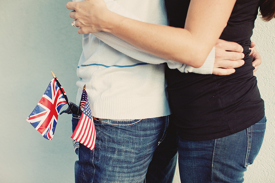 Engagement Pictures with National Flags