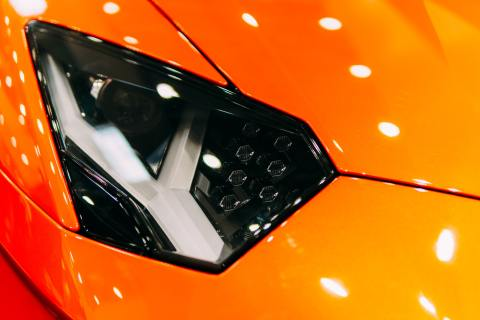 Head Lights Of Luxurious Sports Car