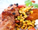 Power Meet inspired grilled chicken with roasted sweet potatoes and a lovely cornsalsa