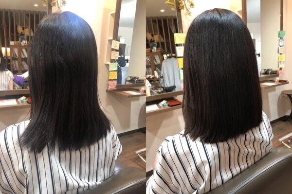 【箕面大阪】毛先の髪トリートメントしながら縮毛矯正でサラサラに