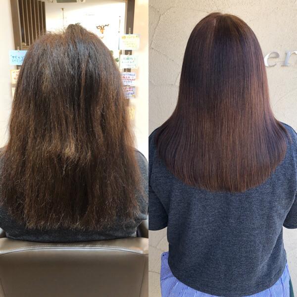 いつも広がって下ろせないびびり毛のお客様に縮毛矯正と艶髪オーダーメイドトリートメント