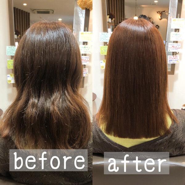 髪質改善縮毛矯正とトリートメントでびびり修正しながらサラサラストレートに