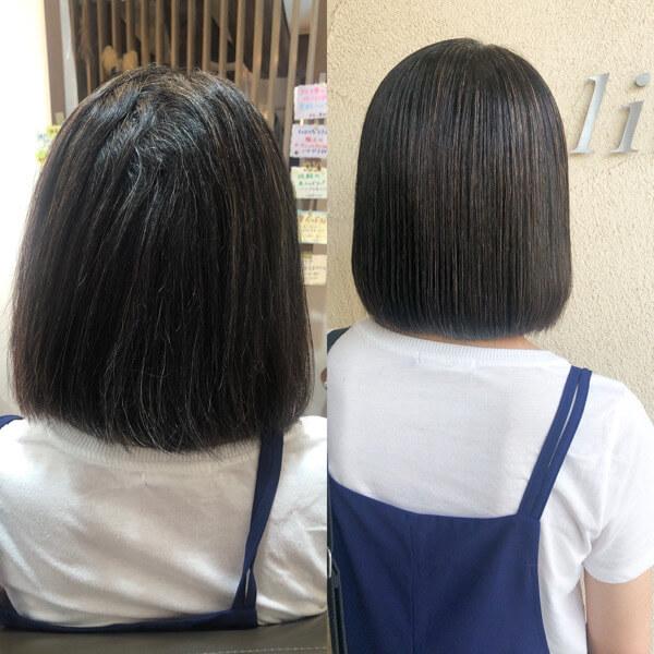 毛先のチリつきを改善しながら柔らかく自然な髪質改善縮毛矯正【箕面 大阪】