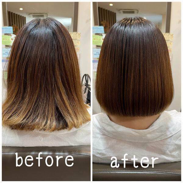 ブリーチのハイライト、グラデーションが入った髪を究極髪質改善酸性縮毛矯正でサラサラに【箕面 大阪】