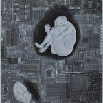 <留まるものは何もない「人の形・石の形」> 205×184cm