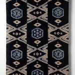 2009 茶綿地藍染絞飾布 330×120