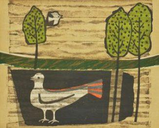 天の鳥 地の鳥 木版 (40 x 50cm)
