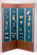 芹澤銈介 屏風「春夏秋冬」 176.5×168cm  1954製作 日本民芸館蔵