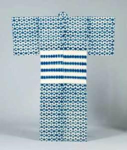 片野元彦 木綿地藍染熨斗目 小華繁紋折縫絞