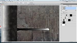 混合画像を右背景に配置し,突起周辺に黒線が出るように投げ縄ツール等で選択(白点線部)し突起部を削除