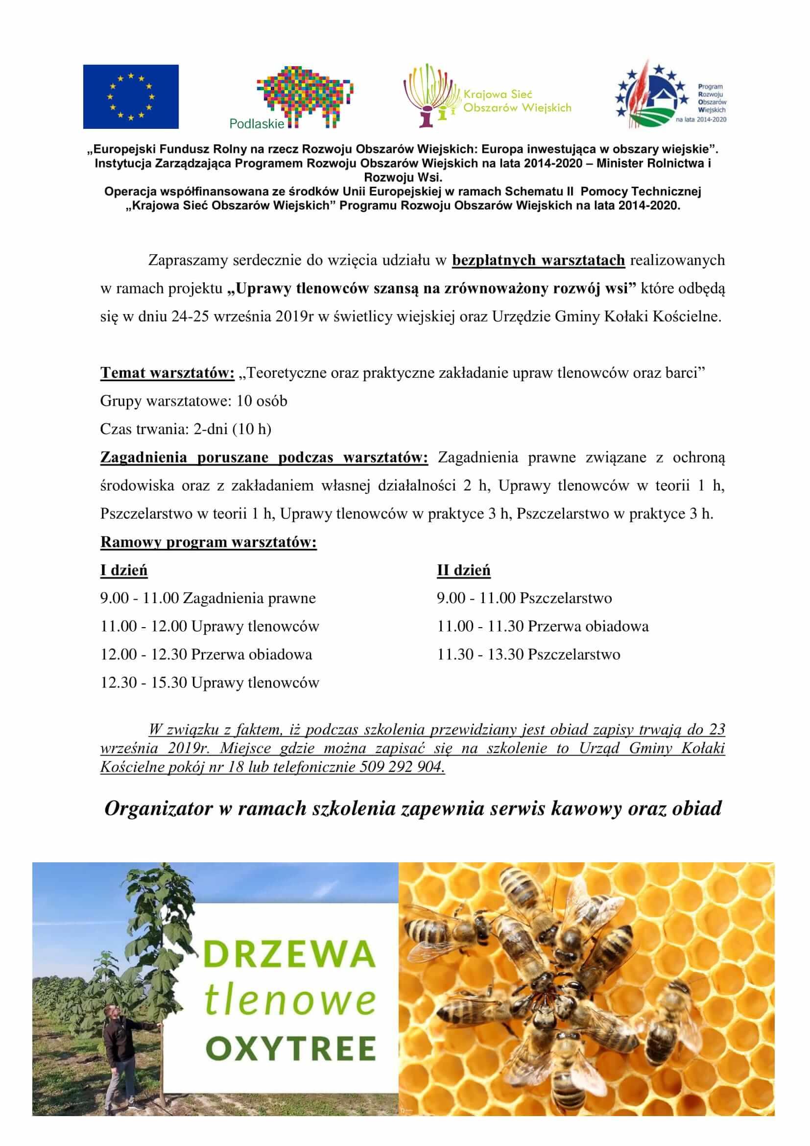 Zaproszenia na szkolenia z zakresu odnawialnych źródeł energii, dotacji energetycznych, programu wapnowania, usuwania folii rolniczej, hodowli tlenowców i pszczelarstwa — realizowanych przez WFOŚiGW w Białymstoku oraz EUROMILK