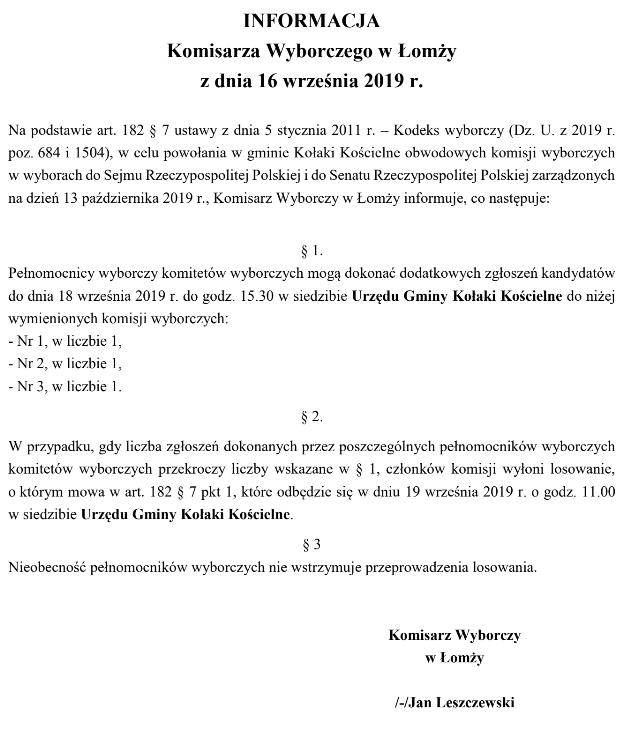 Informacja o możliwości składania dodatkowych zgłoszeń kandydatów do komisji wyborczych