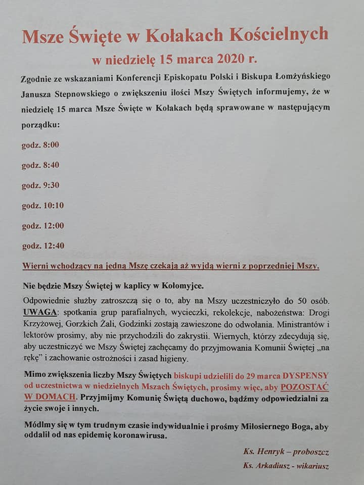 Msze Święte w Kołakach Kościelnych w niedzielę 15 marca 2020 r.